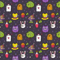 Vecteur libre Alice in Wonderland seamless pattern