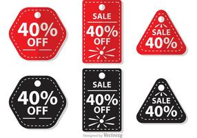 Vente de vecteurs d'étiquettes de 40 pour cent hors