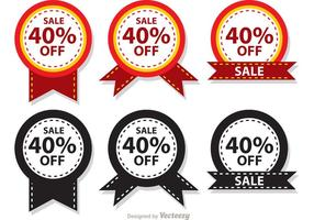 Verkoop 40 Percent Off Badge Vectors