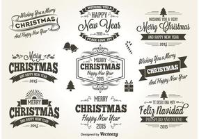 Retro Style Christmas Labels