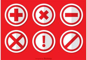 Red Canceled Icon Vectors Pack