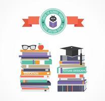 Pila De Vector Libre De Libros De La Escuela