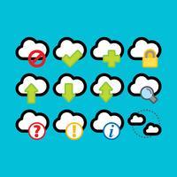 Ícones coloridos de vetor de computação em nuvem