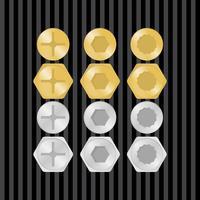 Gold & Silber Schrauben Vektor