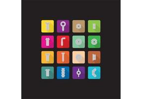 Tornillos planos y tuercas iconos vectoriales