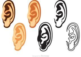 Ensemble des vecteurs d'oreilles humaines vecteur