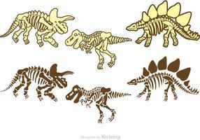 Pack de vecteurs d'ossements de dinosaures