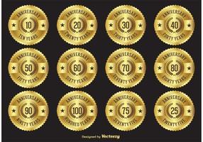 Emblemas de etiqueta de aniversário de ouro