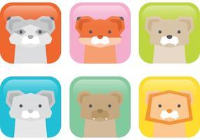 Icônes vectorielles d'animaux sauvages