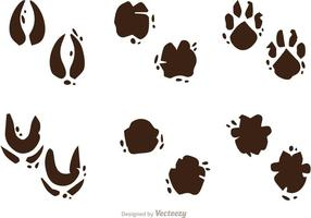 Muddy Animal Footprint Vectors