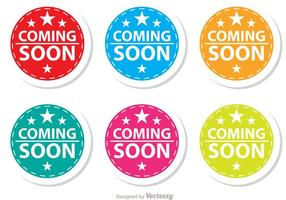 Starred Coming Soon Bunte Icons Set
