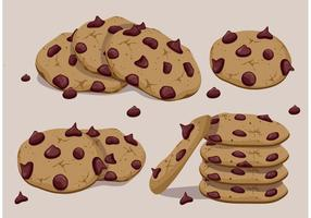 Vectores de las galletas de la viruta de chocolate
