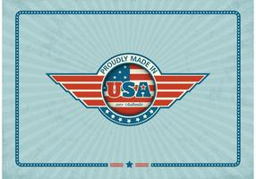 Fri Made In USA Retro Vector Etikett