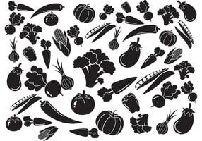 Black White Vegetables Pattern Vector