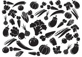 Vecteur de motif de légumes blanc noir