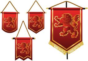Banners heráldicos do vetor do leão