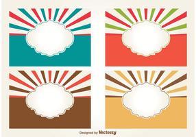 Retro Style Blank Sunburst Etiketter