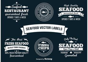 Étiquettes de vecteur de fruits de mer