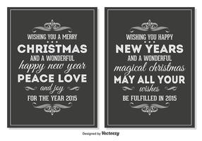 Chalkboard Style Retro Christmas Cards vector