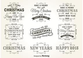 Retro Christmas Label Vectors