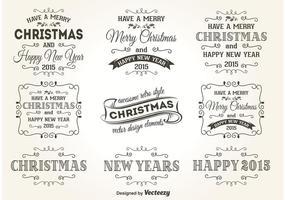 Rétro vecteurs d'étiquettes de Noël