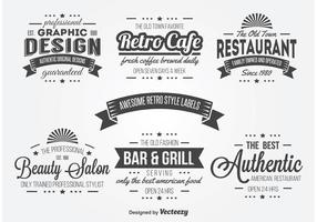 Retro Typography Label Vectors