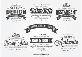 Retro Typography Label Vectors