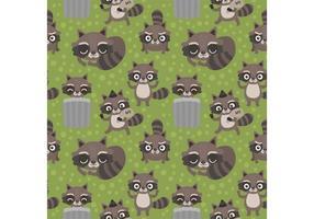 Free Seamless Cartoon Raccoon Vector Pattern