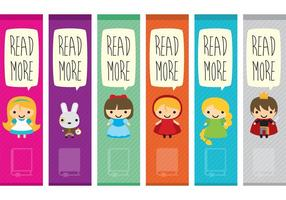 Libro Personajes Bookmark Vectores