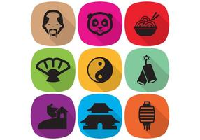 Iconos chinos planos del vector