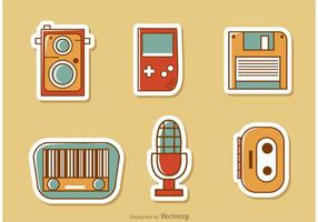 Retro stijl media vector pack 2