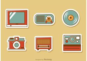 Retro stijl media vector pack 3
