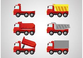 Red Dump Truck Vectors Pack