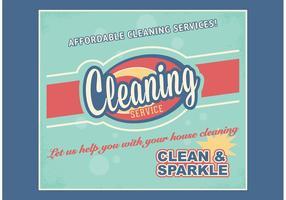 Retro vettore libero di pubblicità di servizio di pulizia