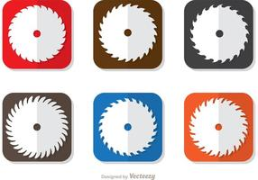 Cuadrado Icono De Circular Saw Blade Vector Pack