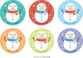 Snowman Icon Vectors Pack