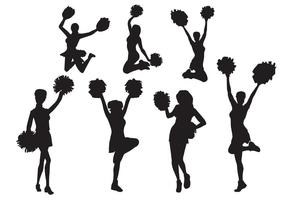 Ensemble de silhouettes Vector Cheerleader gratuit
