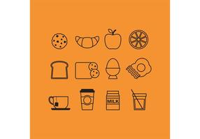 Iconos del desayuno del esquema