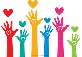 Vectores coloridos de las manos levantadas