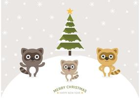 Free Cartoon Raccoons Christmas Vector Background