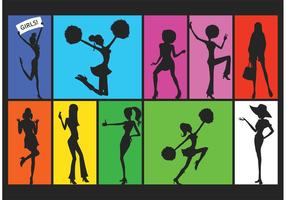 Free Silhouette Of Active Girls Vector