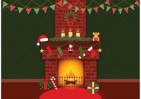Gratis Vector Kerst Open haard Achtergrond