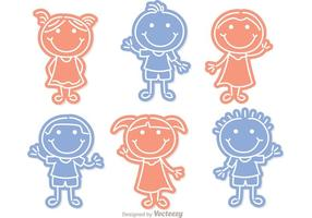 Little Niños Outline Vector Pack