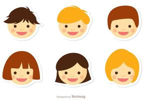 Niños Face Vector Pack 1