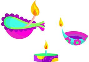 Happy Diwali Lamp Vectors
