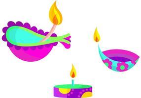 Heureux vecteurs de lampes diwali