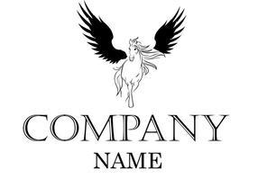 Vector del logotipo del caballo con alas