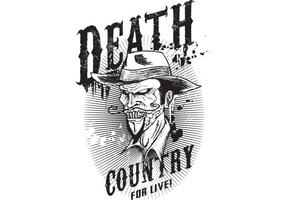 Death Country for Live! T-shirt Ontwerp Vector