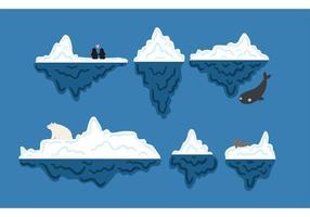 Iceberg subacuático conjunto de vectores gratis