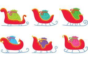Mano libre dibujado Santa's Sleigh Vectores
